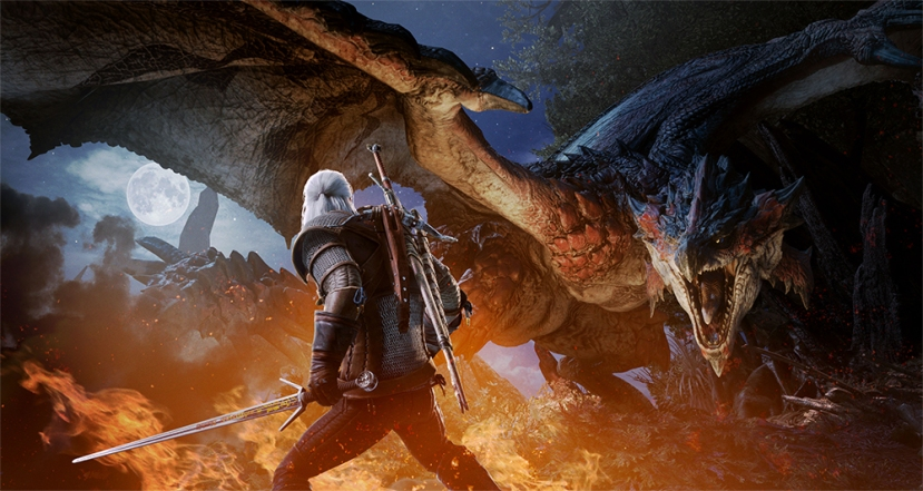 Geralt (The Witcher) chasse dans Monster Hunter World