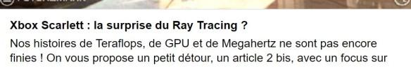 Xbox Scarlett Ray Tracing